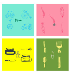 kitchen set icon in vintage hand drawn style vector image