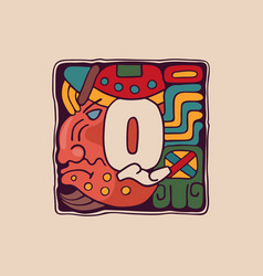 Letter q logo in aztec mayan or incas style vector