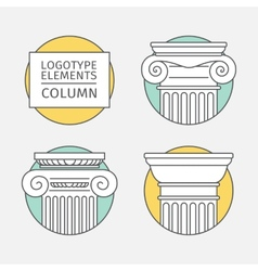 line flat icons Columns elements of a corporate vector image
