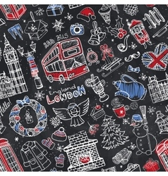 London winter seamless patternChristmas Doodles vector