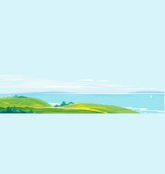 Mediterranean coast landscape background vector