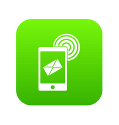 mobile mail sign icon digital green vector image