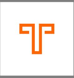 Monogram letter t line logo design vector