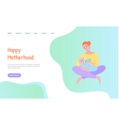 Mother feeding newborn with bottle web vector