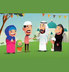 muslims celebrating eid al fitr vector image