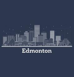 outline edmonton canada city skyline with white vector image