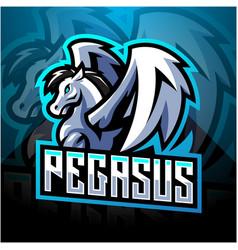 Pegasus esport mascot logo design vector