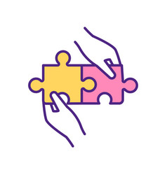 Perfect match two puzzles rgb color icon vector