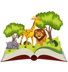 pop up book animal theme vector image