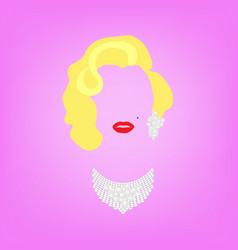 Portrait fashion woman minimalist marilyn monroe vector