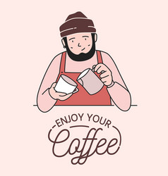 Poster or card template with cute smiling barista vector