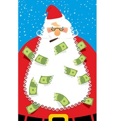 Rich santa claus many money in his beard santa vector