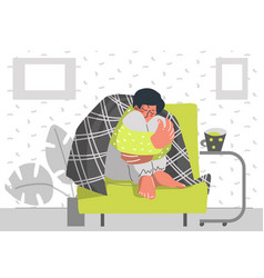 Sed person wrapped in a blanket with a mug stay vector