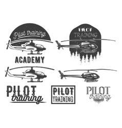 set of helicopter school emblem label vector image