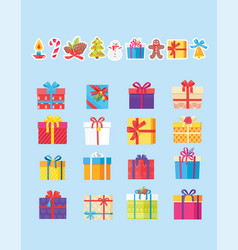 set of icons with presents vector image