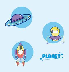 set of spacecrafts cartoons vector image