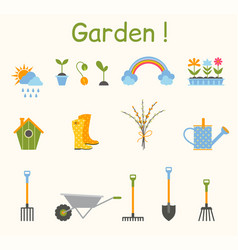 set of various gardening items garden tools vector image