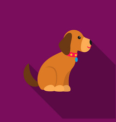 Sitting dog icon in flat style for web vector