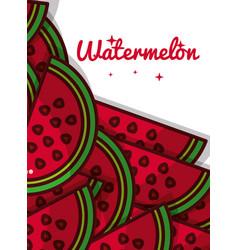 sliced watermelon fruit juicy sweet poster vector image
