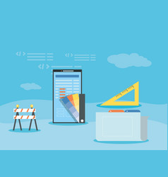 Smartphone with webpage under cosntruction vector