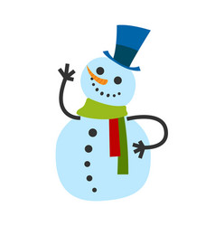 snowman male in warm winter scarf and high hat vector image