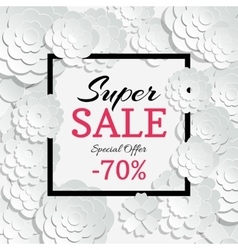 Spring sale banner with 3d paper cut vector