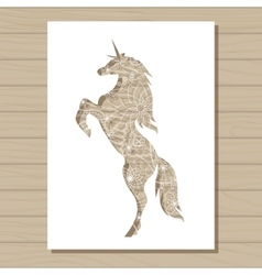 stencil template of unicorn on wooden background vector image vector image
