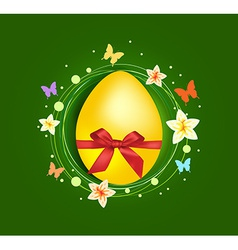 Sweet Easter egg with gift bow greeting card vector image