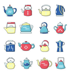 teapot icons set cartoon style vector image