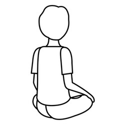 Teenager boy sitting on his back character vector