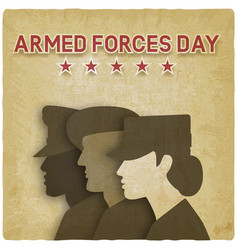 Three uniformed soldiers on vintage background vector