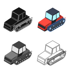 Tracked tractor icon in cartoon style isolated on vector