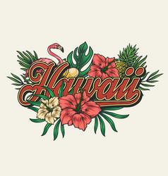 Tropical hawaiian vintage colorful print vector
