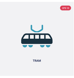 two color tram icon from transport-aytan concept vector image