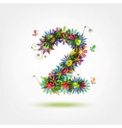 Two floral number for your design vector image