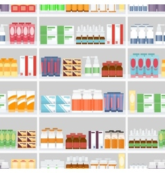 Various Pills and Drugs on Shelves vector image