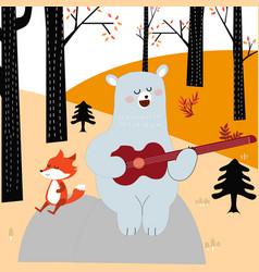 Vcute spring summer fox wolf and teddy bear play vector