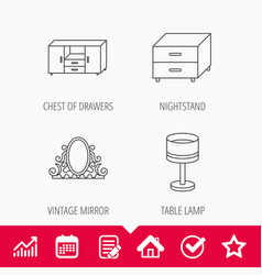 Vintage mirror table lamp and nightstand icons vector