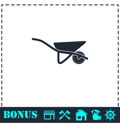 Wheelbarrow icon flat vector image