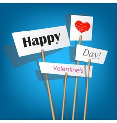 white posters with inscription - happy valentines vector image