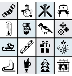 Winter icons set black vector image