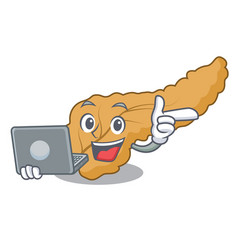 With laptop pancreas character cartoon style vector