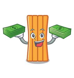 with money bag air mattress mascot cartoon vector image