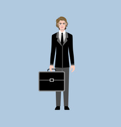 young business man or office worker with a black vector image