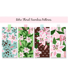 beautiful pink lily pattern set vector image vector image