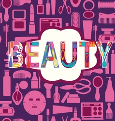 beauty pattern makeup cosmetic and beauty vector image vector image