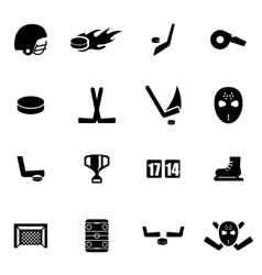 black hockey icon set vector image