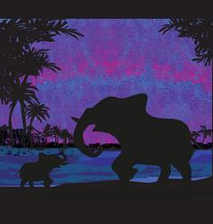 elephants enjoy a sunset vector image