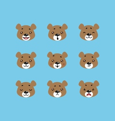 Set of bear emoticons vector image