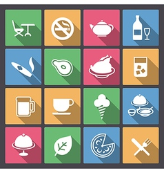 food and alcohol drink icons in flat design vector image